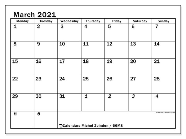 March 2021 Calendar, 66MS. Free calendar to print.