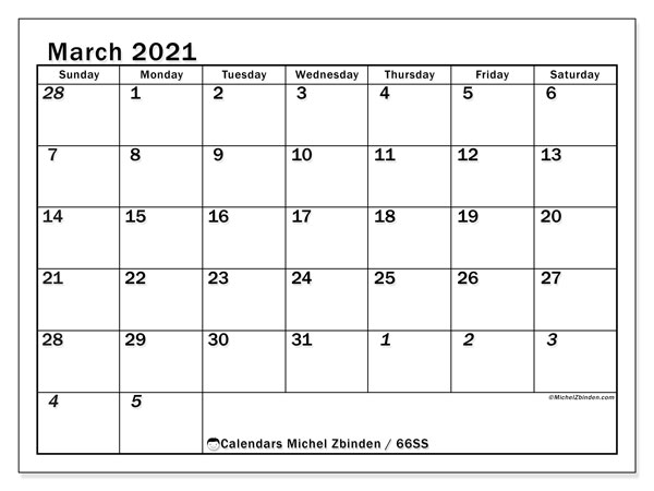 March 2021 Calendar, 66SS. Calendar for the month to print free.