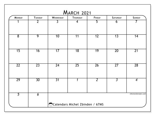 March 2021 Calendar, 67MS. Free bullet journal to print.