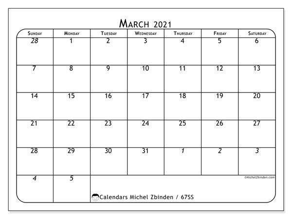 March 2021 Calendar, 67SS. Free bullet journal to print.