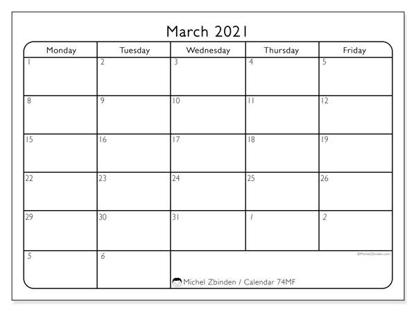 March 2021 Calendar, 74MS. Free printable calendar.
