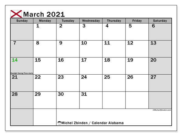 March 2021 Calendar, with the holidays of Alabama. Free printable calendar with public holidays.