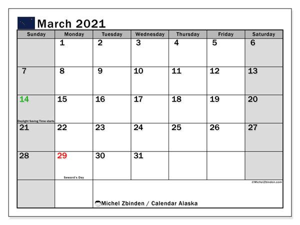 March 2021 Calendar, with the holidays of Alaska. Holidays calendar to print free.