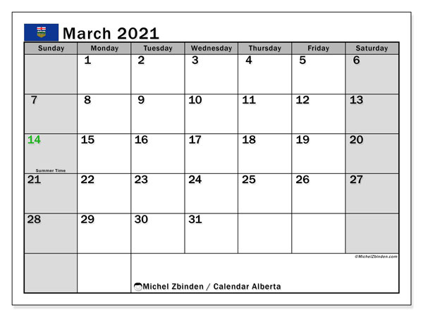 Calendar March 2021 - Alberta. Public Holidays. Monthly Calendar and bullet journal to print free.