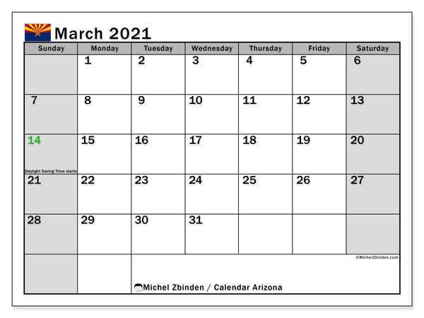 March 2021 Calendar, with the holidays of Arizona. Free printable calendar with public holidays.