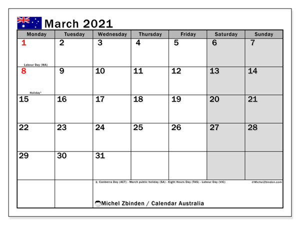 March 2021 Calendar, with the holidays of Australia. Holidays calendar to print free.