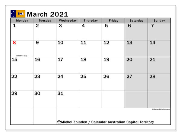 March 2021 Calendar, with the holidays of Australian Capital Territory. Free printable calendar with public holidays.