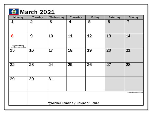 March 2021 Calendar, with the holidays of Belize. Holidays calendar to print free.