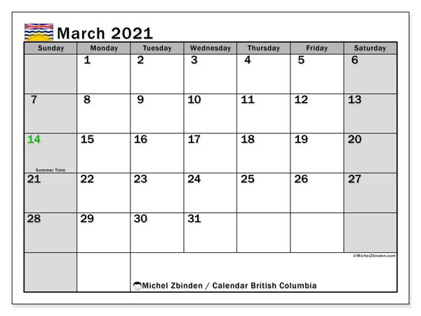 March 2021 Calendar, with the holidays of British Columbia. Holidays calendar to print free.