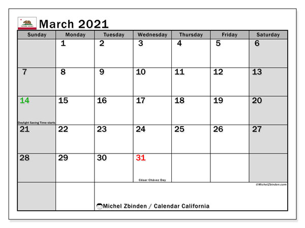 "Printable ""California"" calendar with public holidays. Monthly March 2021 calendar and free agenda to print."