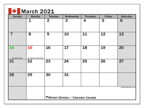 March 2021 Calendar, Canada - Michel Zbinden EN