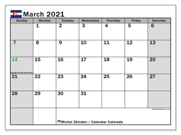 March 2021 Calendar, with the holidays of Colorado. Holidays calendar to print free.