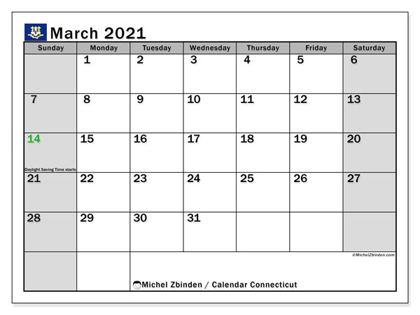 March 2021 Calendar, with the holidays of Connecticut. Free printable calendar with public holidays.