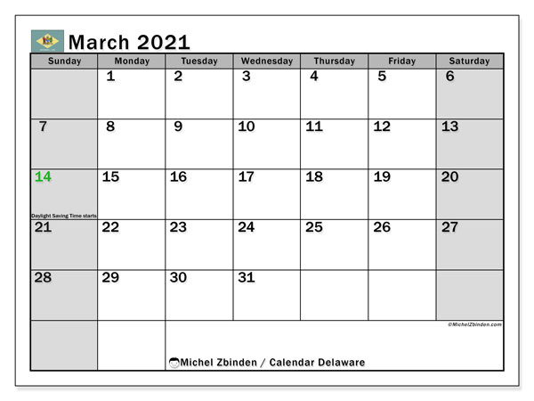 "Printable ""Delaware"" calendar with public holidays. Monthly March 2021 calendar and free printable agenda."