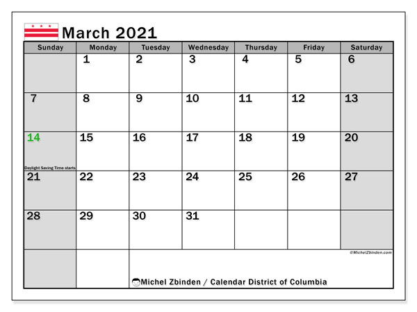 "Printable ""District of Columbia"" calendar with public holidays. Monthly March 2021 calendar and free schedule to print."