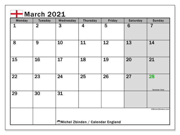 March 2021 Calendar, with the holidays of England. Holidays calendar to print free.