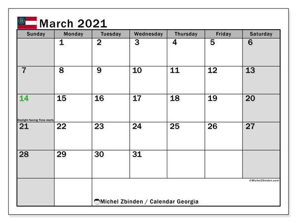 March 2021 Calendar, with the holidays of Georgia. Holidays calendar to print free.
