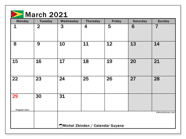 Calendar March 2021 - Guyana. Public Holidays. Monthly Calendar and free planner to print.