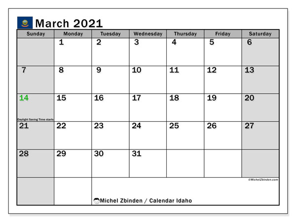 March 2021 Calendar, with the holidays of Idaho. Free printable calendar with public holidays.