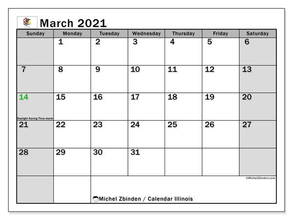 Calendar March 2021 - Illinois. Public Holidays. Monthly Calendar and planner to print free.