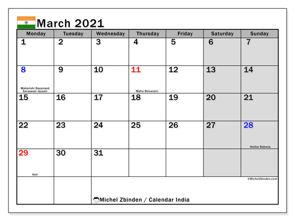 Calendar March 2021 - India. Public Holidays. Monthly Calendar and free schedule to print.