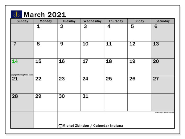 March 2021 Calendar, with the holidays of Indiana. Holidays calendar to print free.
