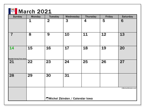 March 2021 Calendar, with the holidays of Iowa. Holidays calendar to print free.