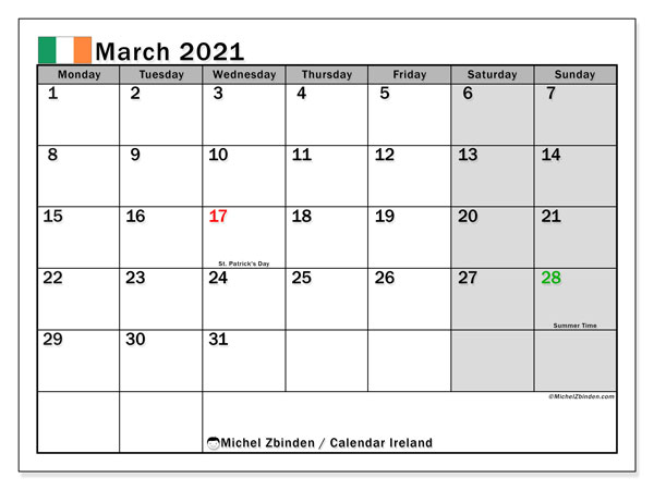 March 2021 Calendar, with the holidays of Ireland. Free printable calendar with public holidays.