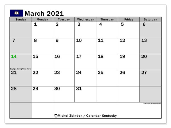 March 2021 Calendar, with the holidays of Kentucky. Holidays calendar to print free.