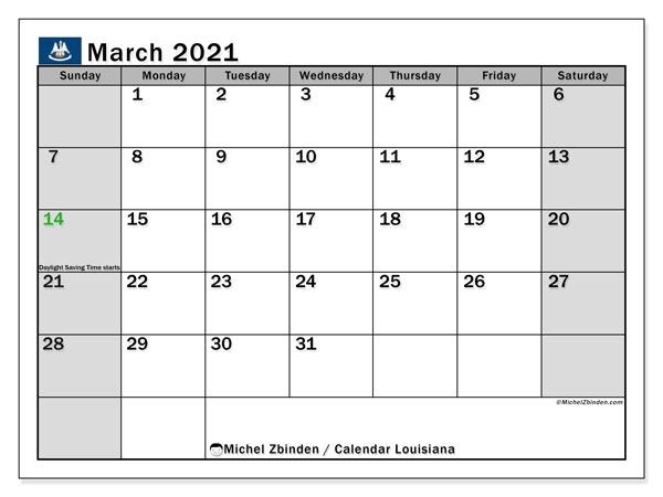 "Calendar ""Louisiana"" with public holidays, March 2021, ready to print."