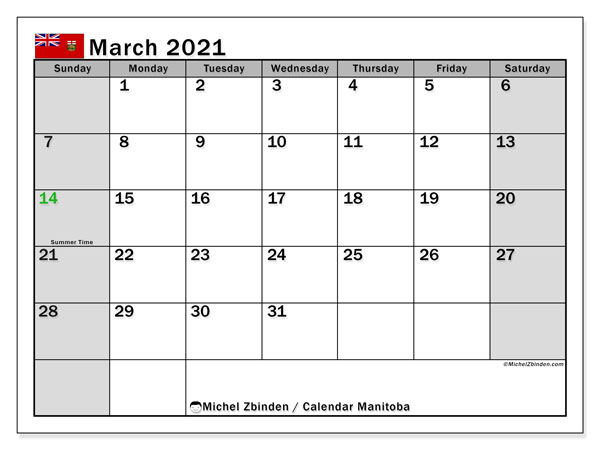 March 2021 Calendar, with the holidays of Manitoba. Free printable calendar with public holidays.