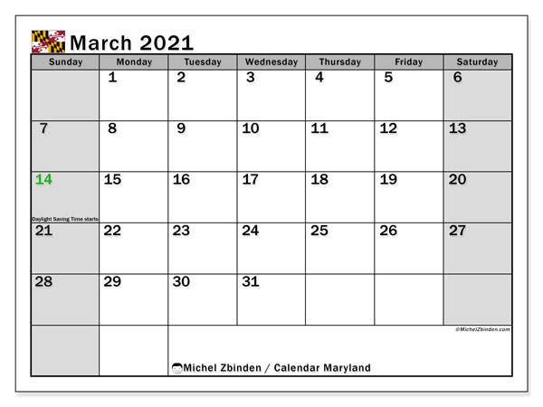 March 2021 Calendar, with the holidays of Maryland. Free printable calendar with public holidays.
