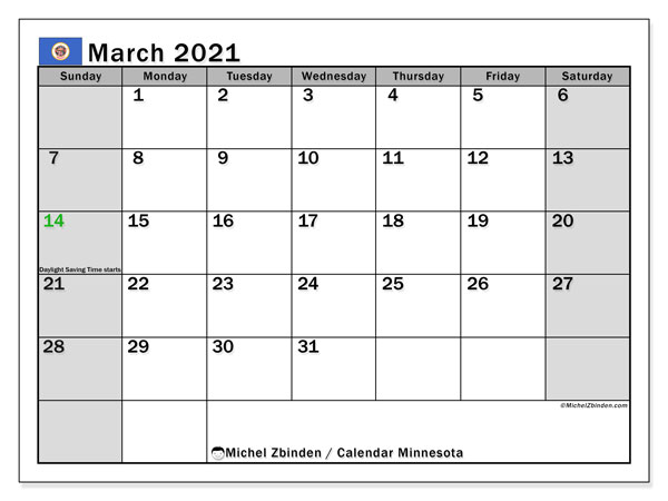 March 2021 Calendar, with the holidays of Minnesota. Free printable calendar with public holidays.