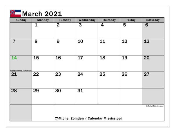 March 2021 Calendar, with the Mississippi holidays. Holidays calendar to print free.