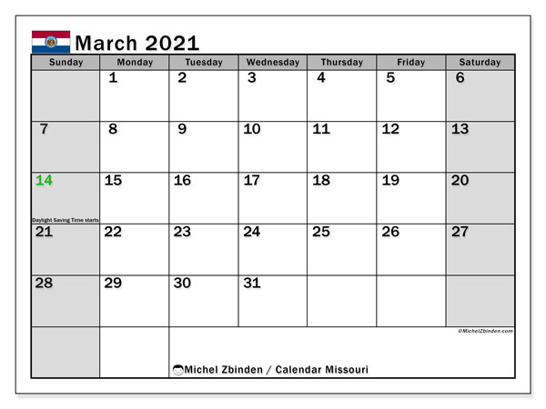March 2021 Calendar, with the holidays of Missouri. Holidays calendar to print free.