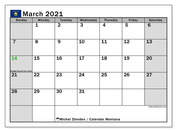 "Printable ""Montana"" calendar with public holidays. Monthly March 2021 calendar and free printable schedule."
