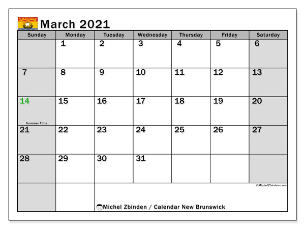 March 2021 Calendar, with the holidays of New Brunswick. Free printable calendar with public holidays.