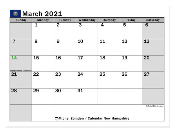 March 2021 Calendar, with the holidays of New Hampshire. Holidays calendar to print free.
