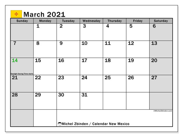 March 2021 Calendar, with the holidays of New Mexico. Free printable calendar with public holidays.