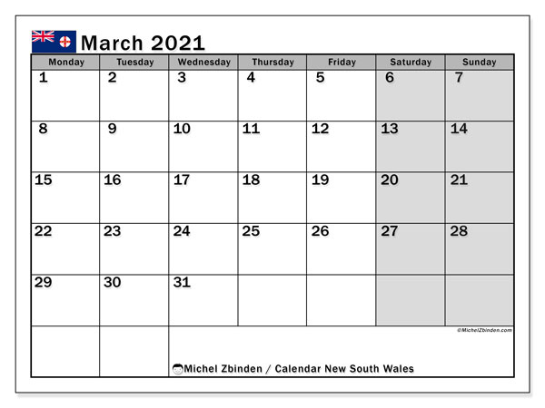 March 2021 Calendar, with the holidays of New South Wales. Free printable calendar with public holidays.