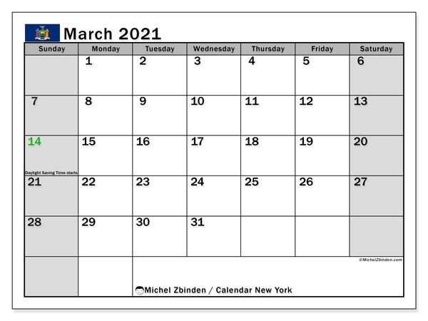 March 2021 Calendar, with the holidays of New York. Holidays calendar to print free.