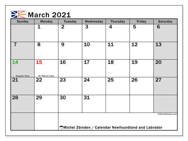 "Printable ""Newfoundland and Labrador"" calendar with public holidays. Monthly March 2021 calendar and free printable planner."