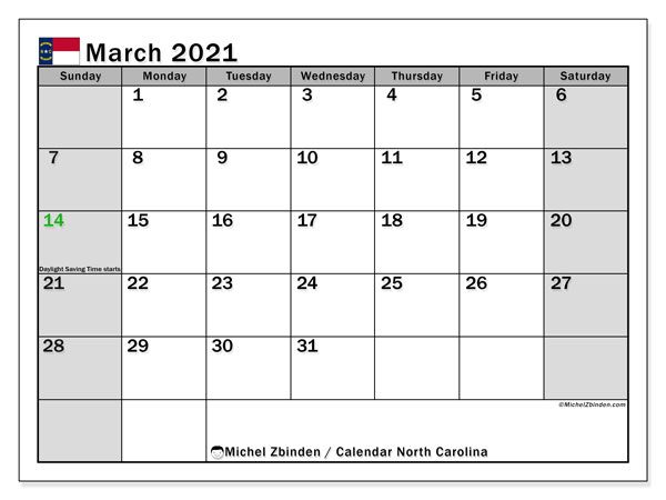 March 2021 Calendar, with the holidays of North Carolina. Holidays calendar to print free.