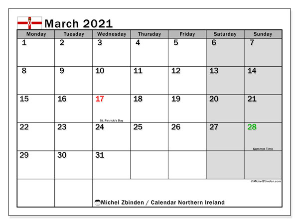 March 2021 Calendar, with the holidays of Northern Ireland. Free printable calendar with public holidays.