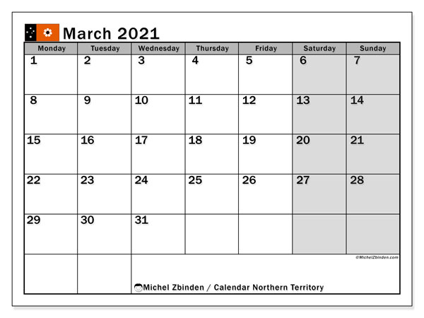 March 2021 Calendar, with the holidays of Northern Territory. Free printable calendar with public holidays.