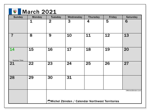 March 2021 Calendar, with the holidays of Northwest Territories. Free printable calendar with public holidays.