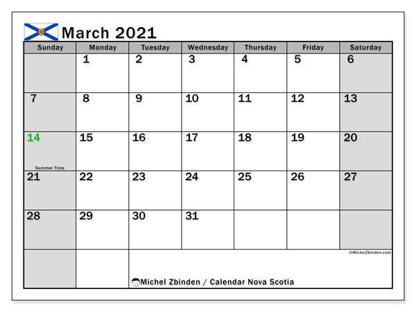 March 2021 Calendar, with the holidays of Nova Scotia. Holidays calendar to print free.
