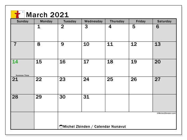 March 2021 Calendar, with the holidays of Nunavut. Free printable calendar with public holidays.