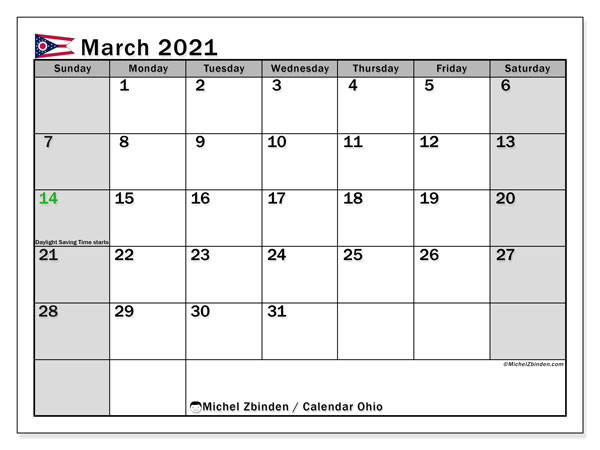 March 2021 Calendar, with the holidays of Ohio. Holidays calendar to print free.
