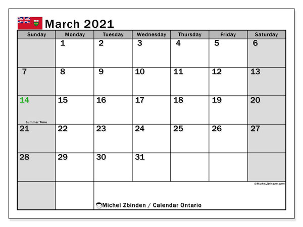 March 2021 Calendar, with the holidays of Ontario. Holidays calendar to print free.